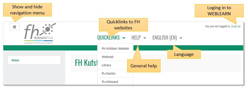 Startscreen of WEBLEARN